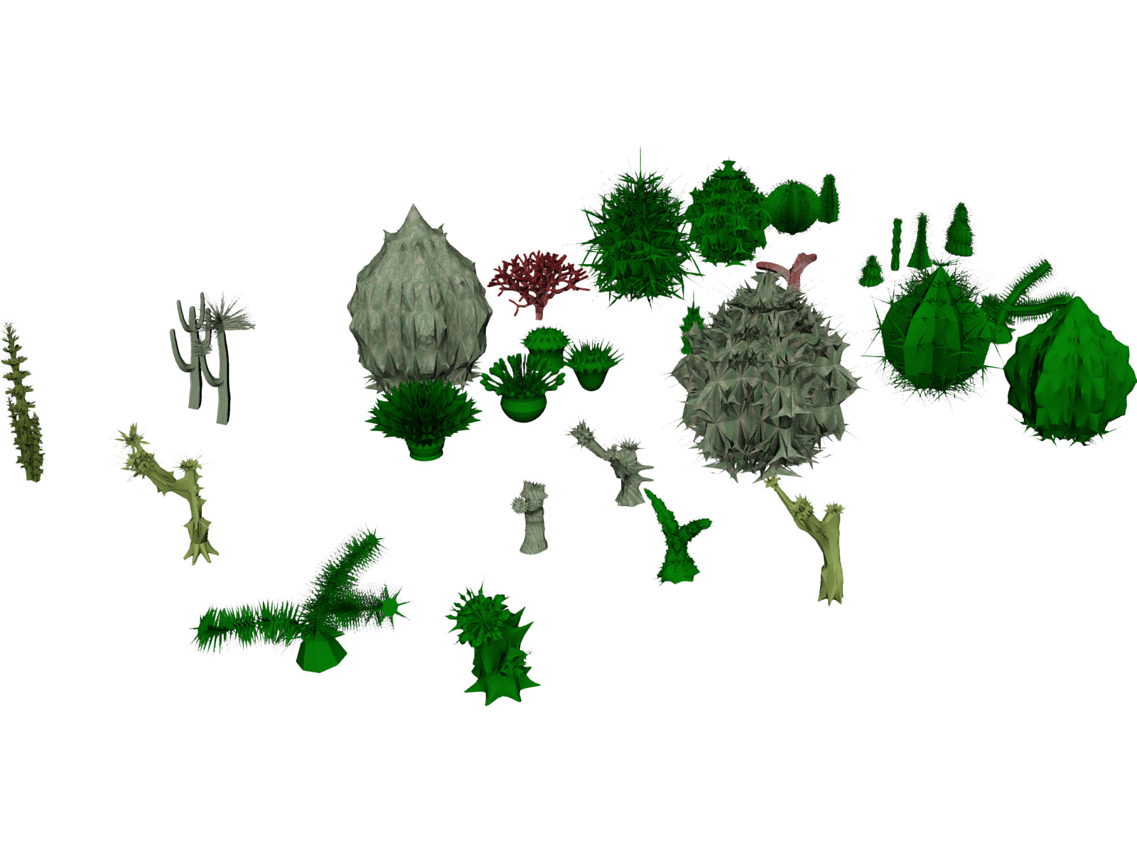 Cactuses Collection 3D Model
