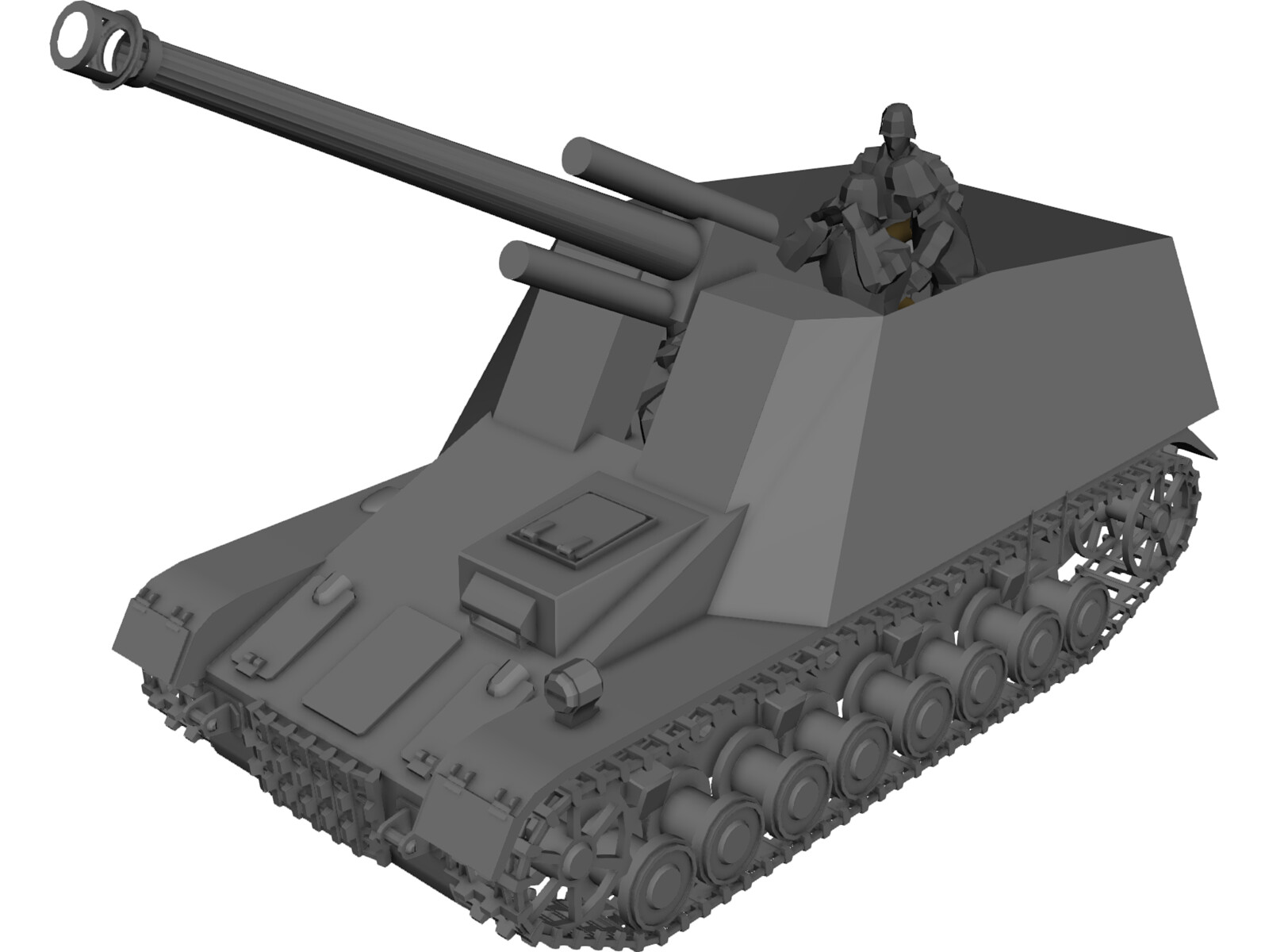 Sd.KfZ 165 Hummel Mobile Artillery 3D Model