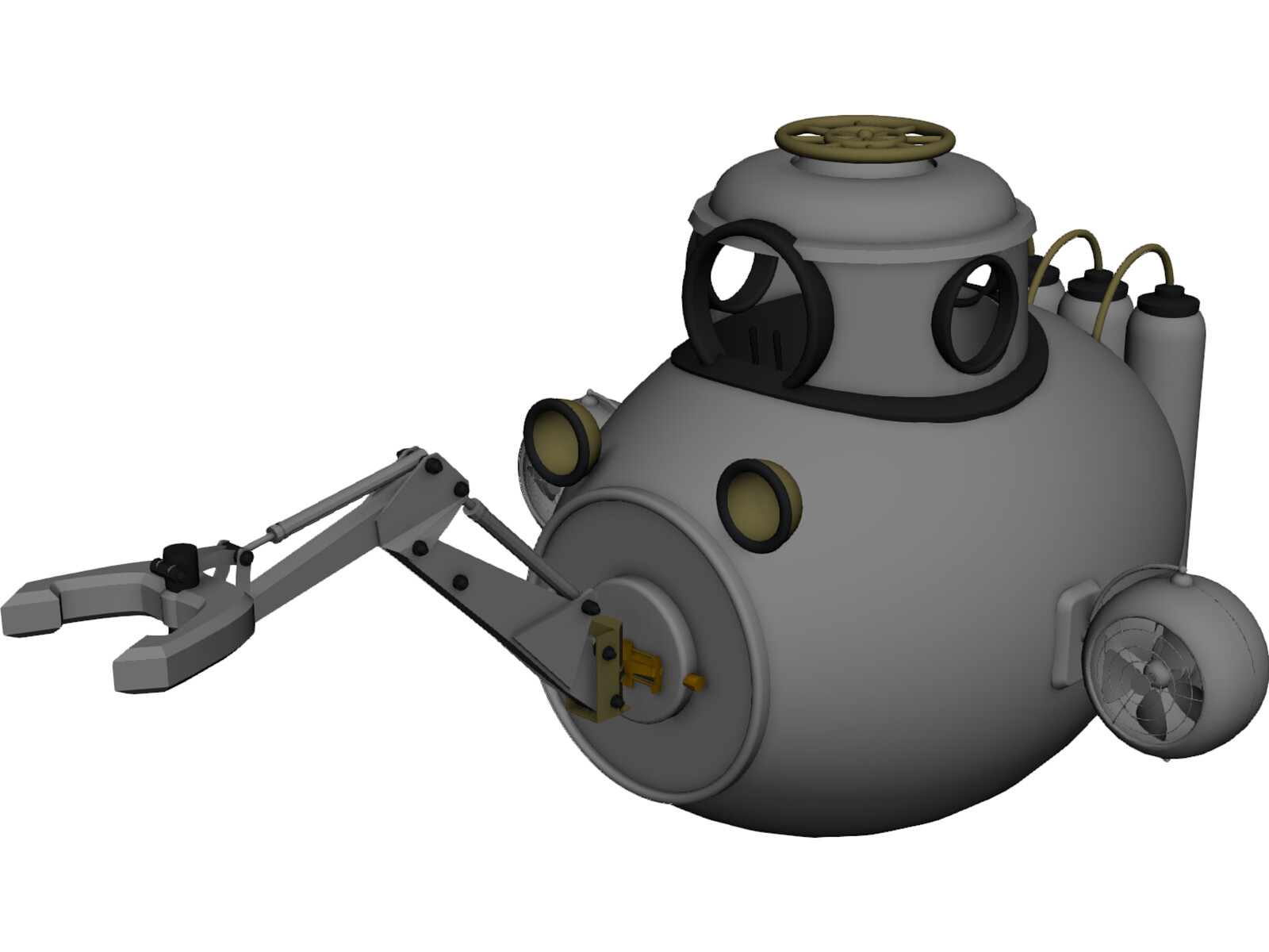 Submarine Sub Fantasy 3D Model