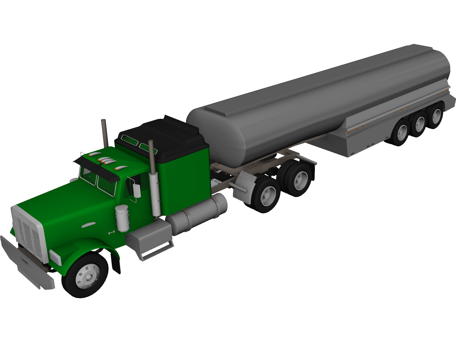 Ford Semi Truck with Tanker Trailer 3D Model