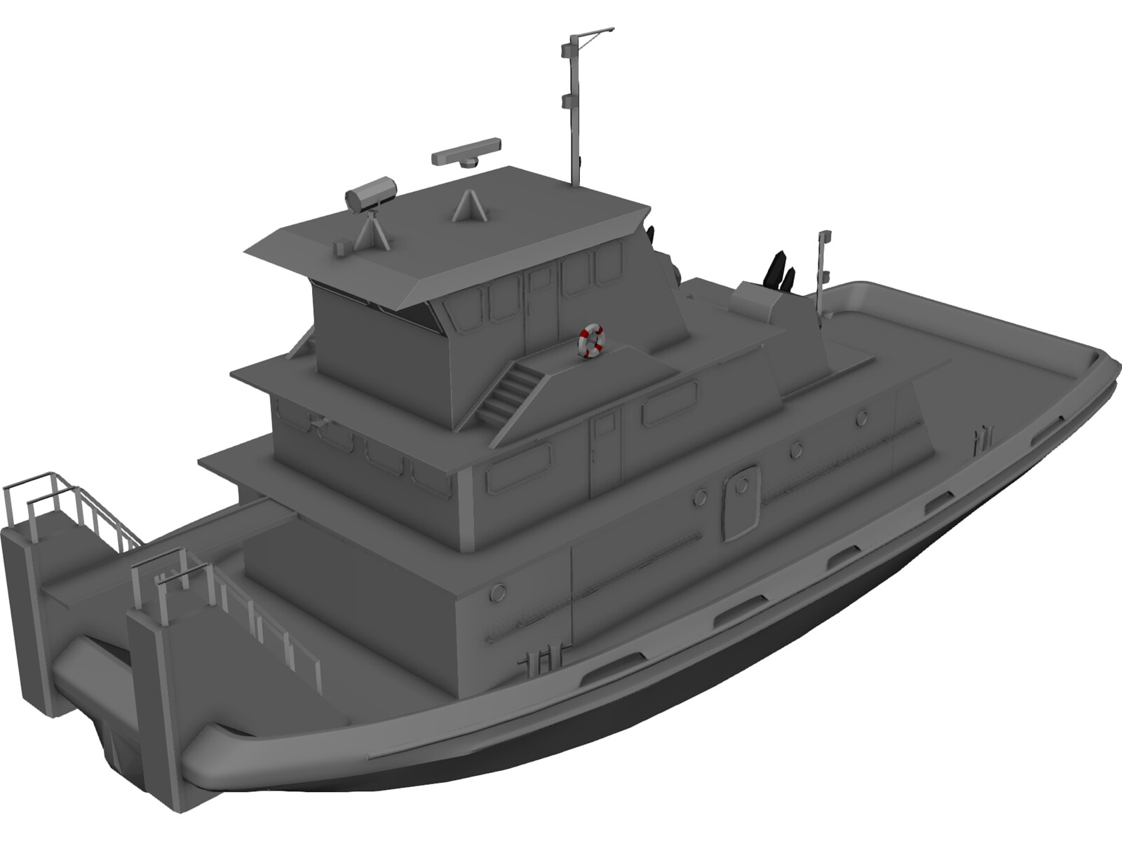Tug-Push Boat 3D Model - 3D CAD Browser