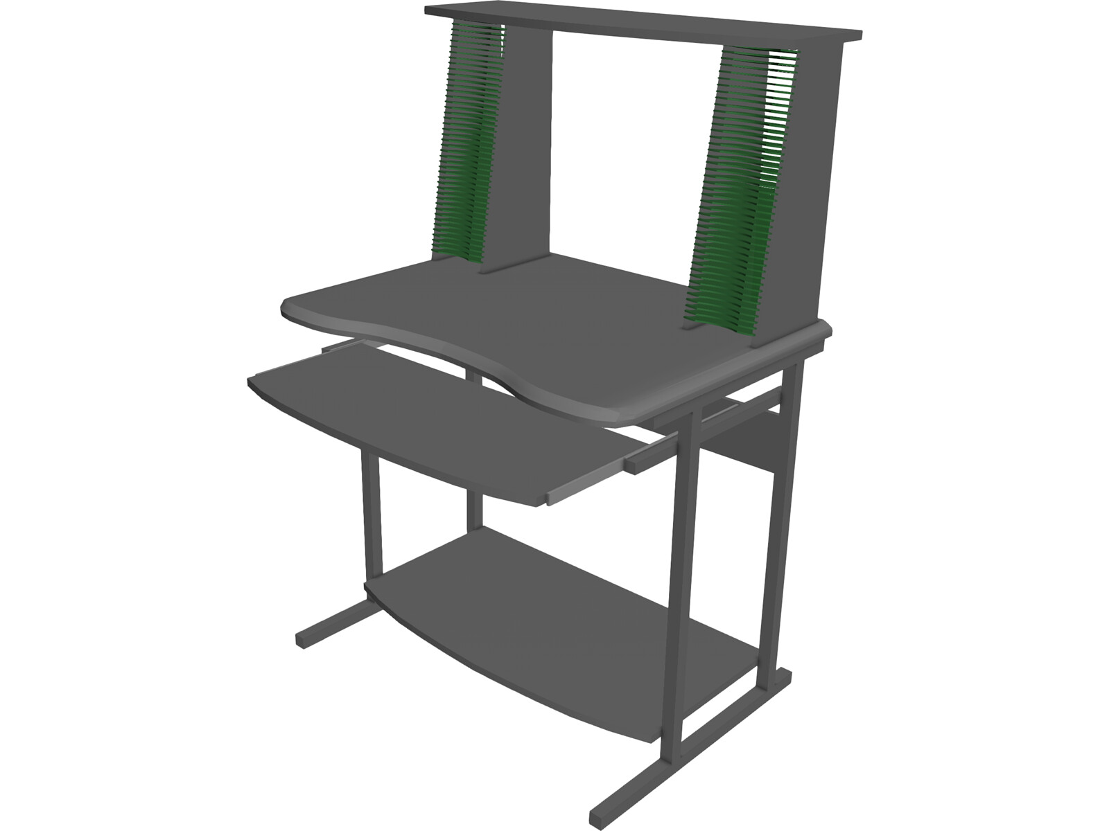 Desk with CD Rack 3D Model