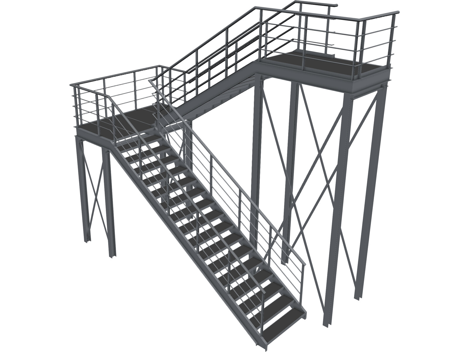 Metal Stairs 3D Model