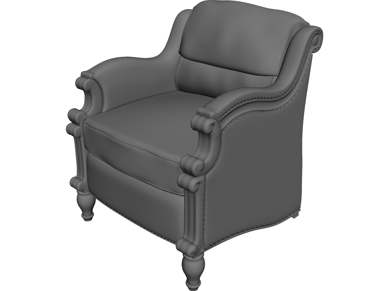 Colonial chair 3d model 3d cad browser for Chair 3d model maya