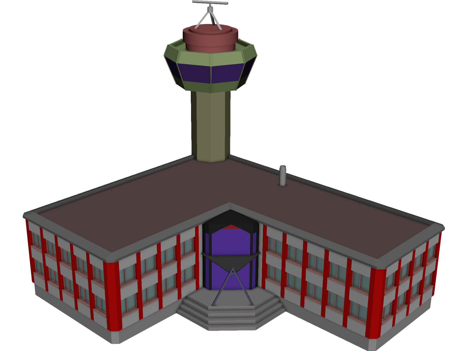 Control Tower with Airport Building