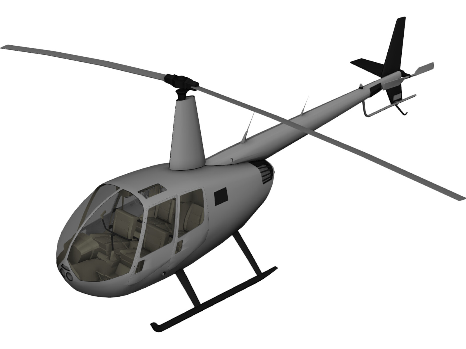 Robinson R44 with Interior 3D Model