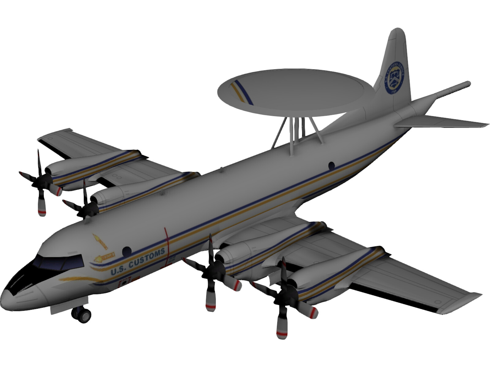 Lockheed P-3 Orion US Customs 3D Model