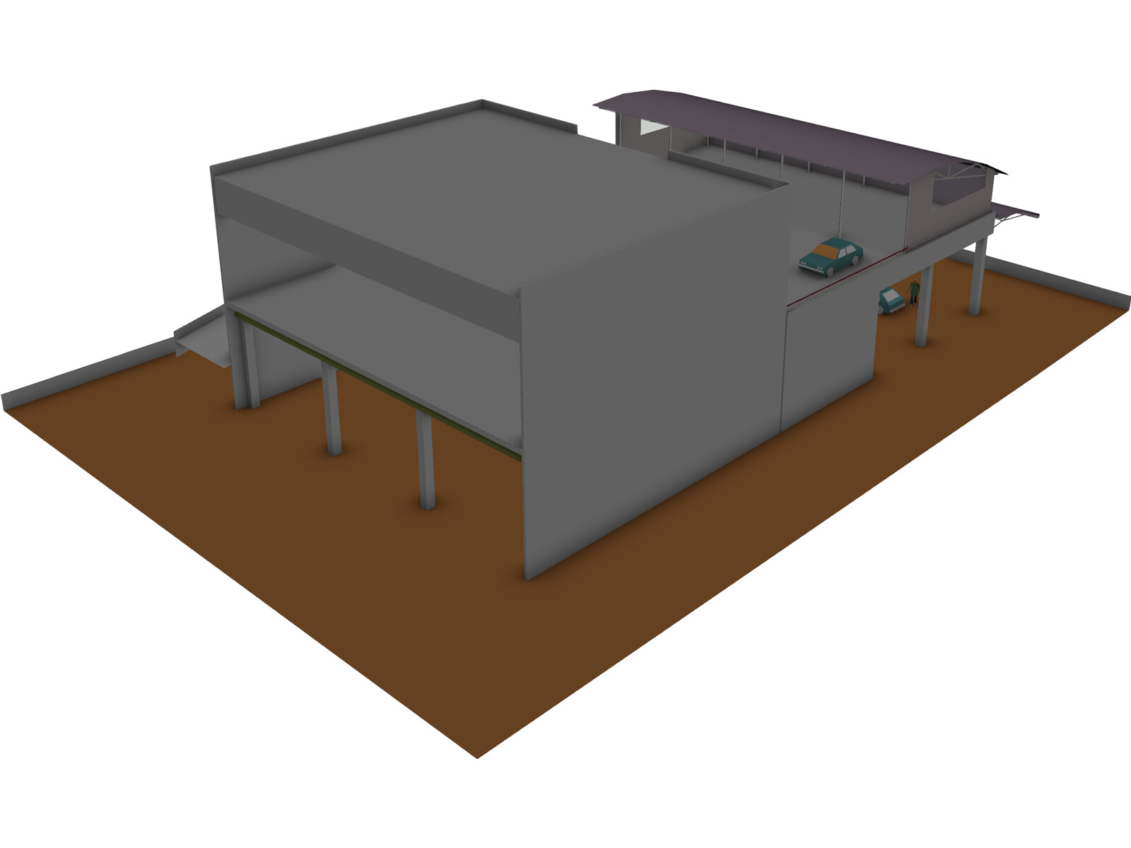 Industrial Building with Shop 3D Model