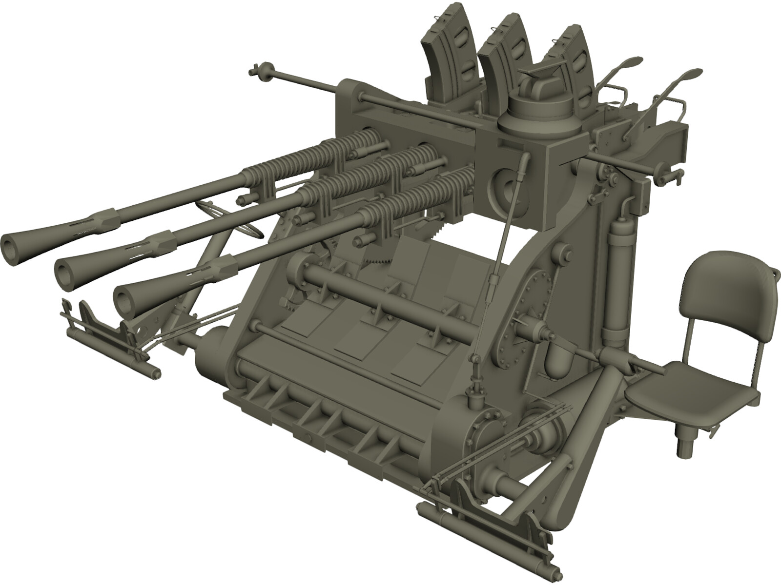 Type 96 Japanese Triple AA Gun (25 mm) 3D Model