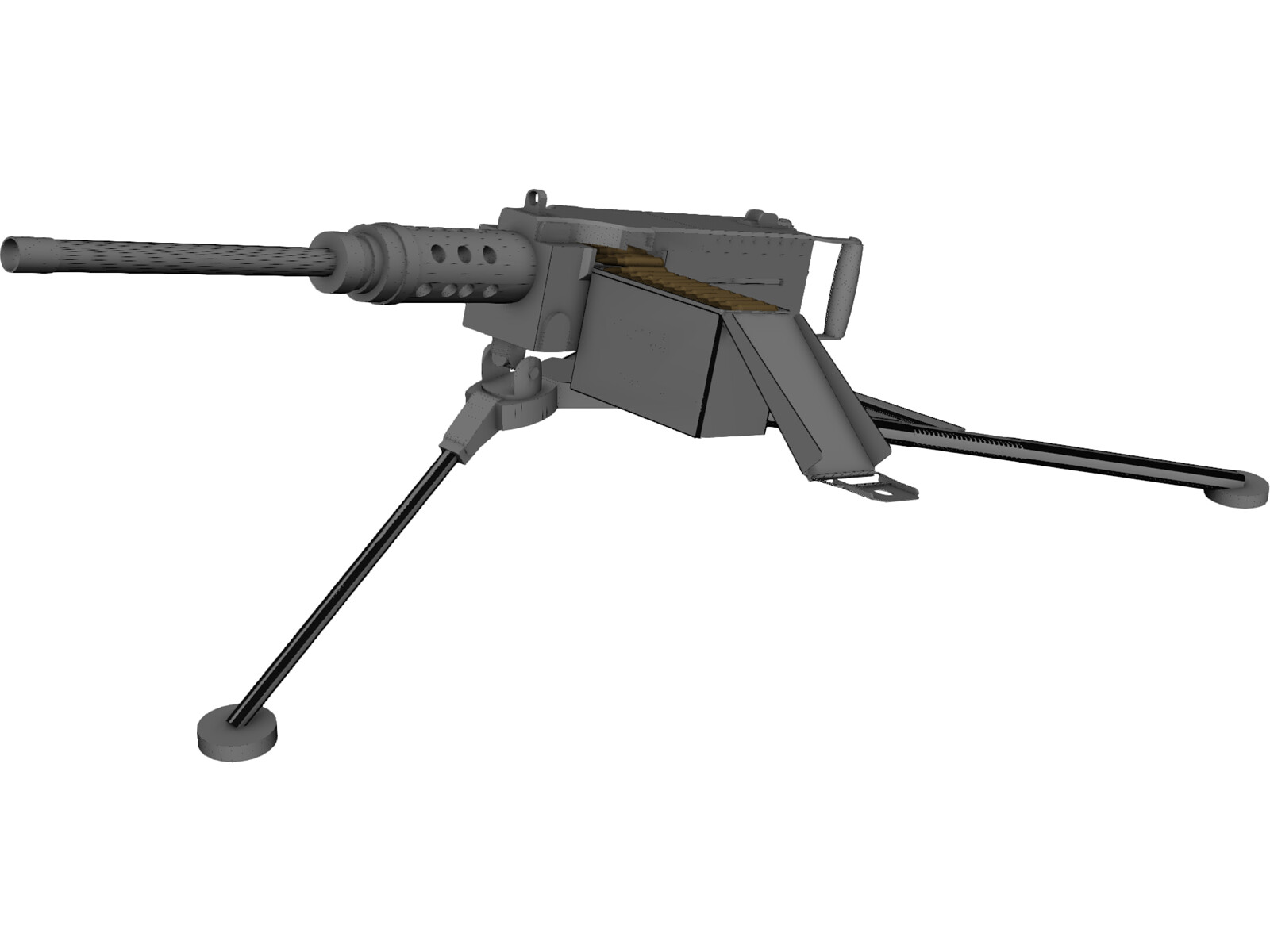 Browning 50 cal 3d model for Kmz to dxf