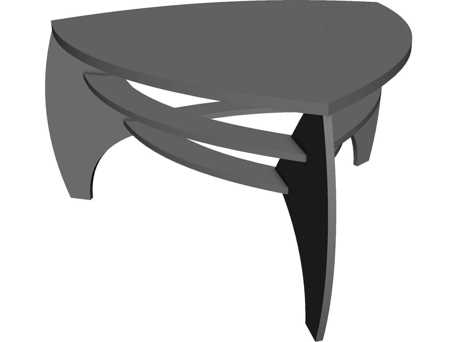 Table with glass 3D CAD Model