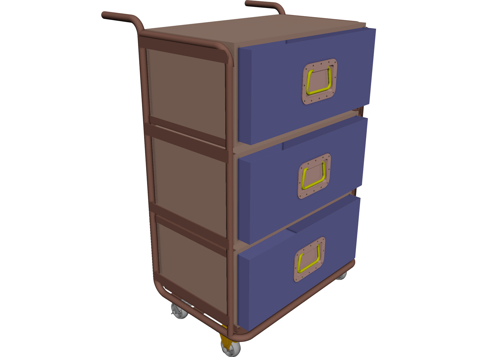 Trolley with removable drawer units 3D CAD Model
