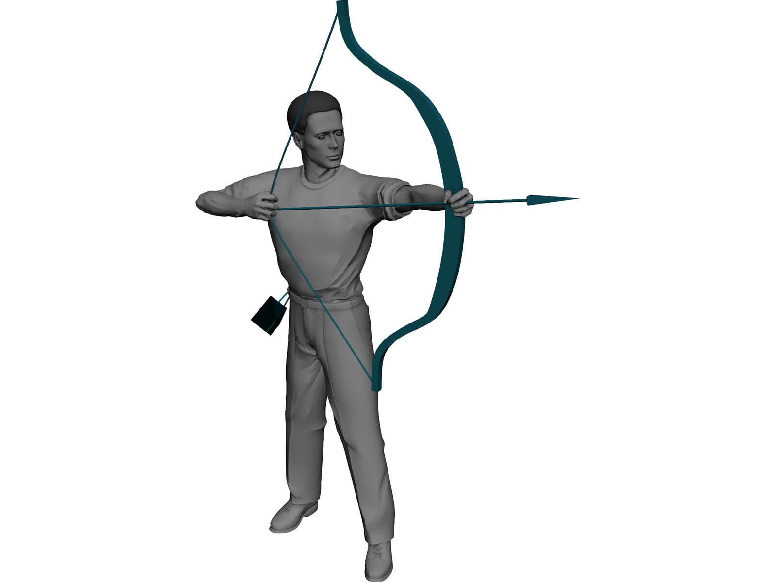 Man with Bow and Arrow 3D Model - 3D CAD Browser