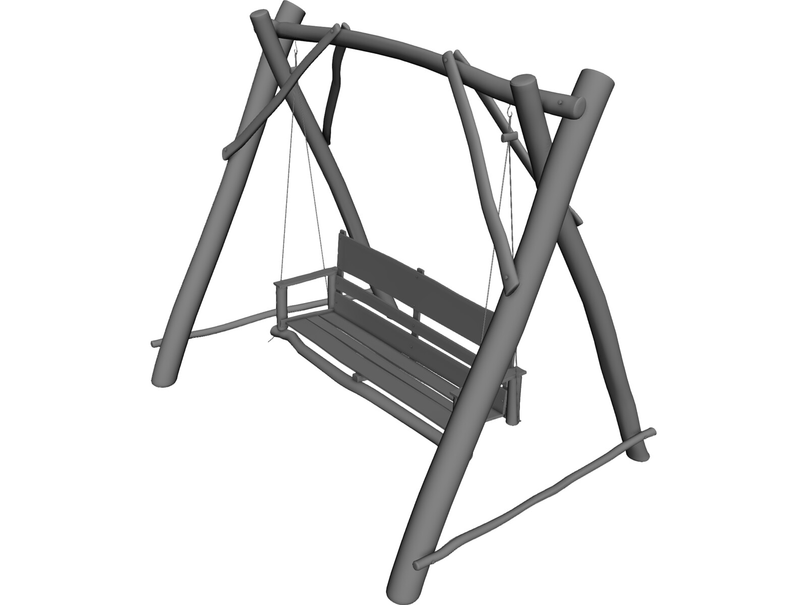 Swing wooden chair 3d model 3d cad browser for Chair 3d model maya