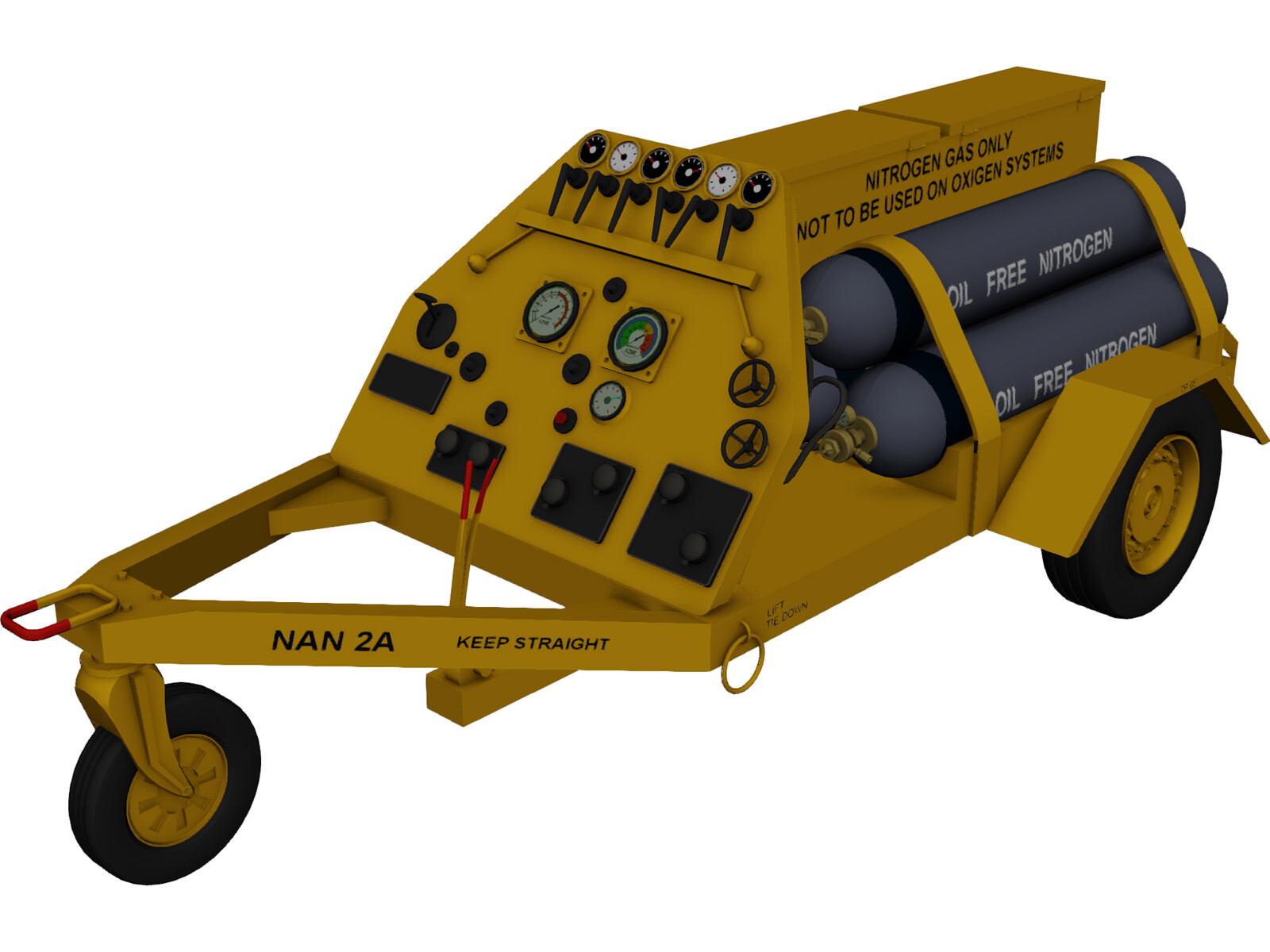 Nitrogen airport cart trailer 3D Model