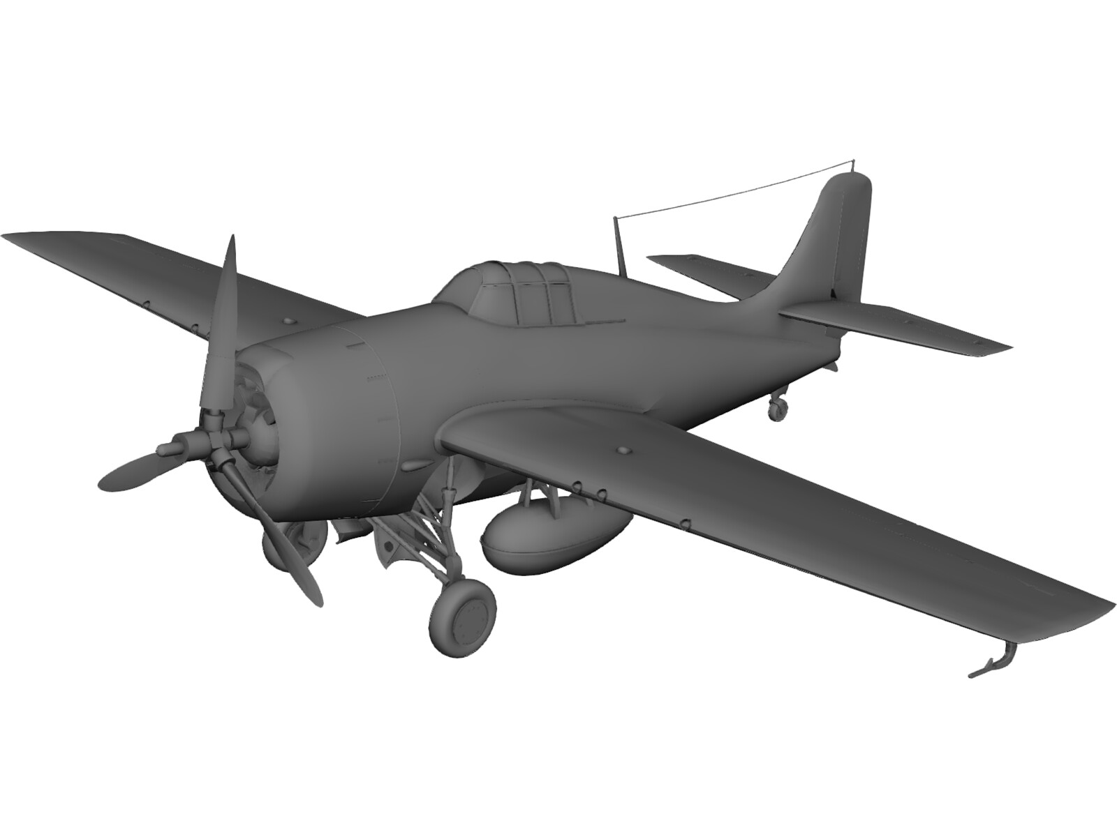 Grumman F4F-4 Wildcat 3D Model