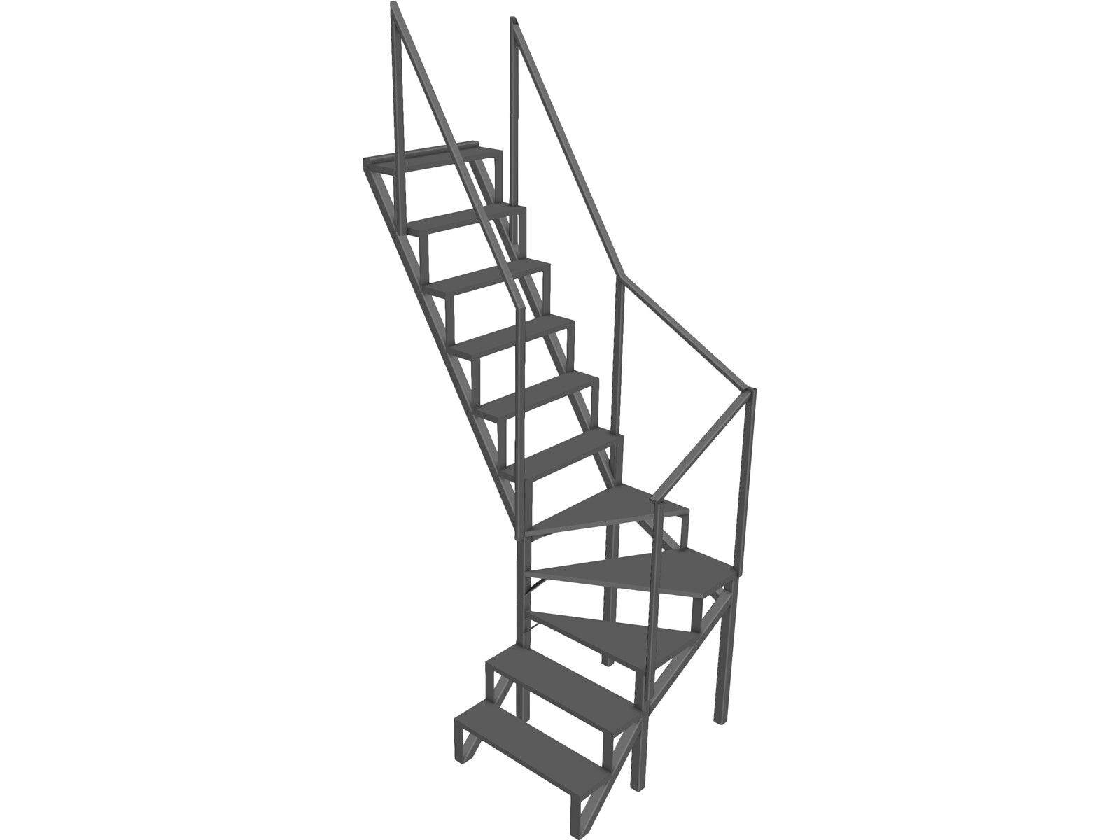 Angle Stairs Garden 3D CAD Model
