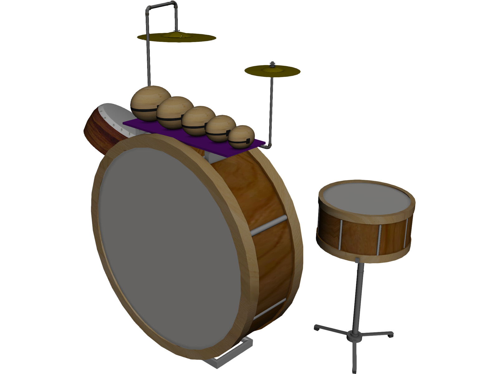 Antique Drum Kit 3D Model