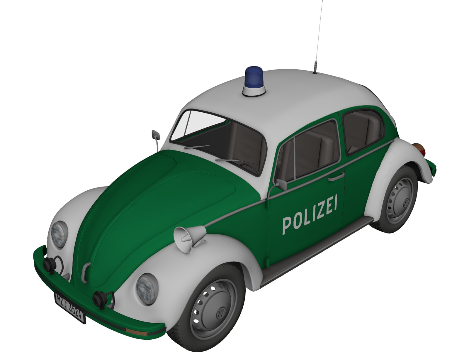 Volkswagen Beetle German Police 3D Model