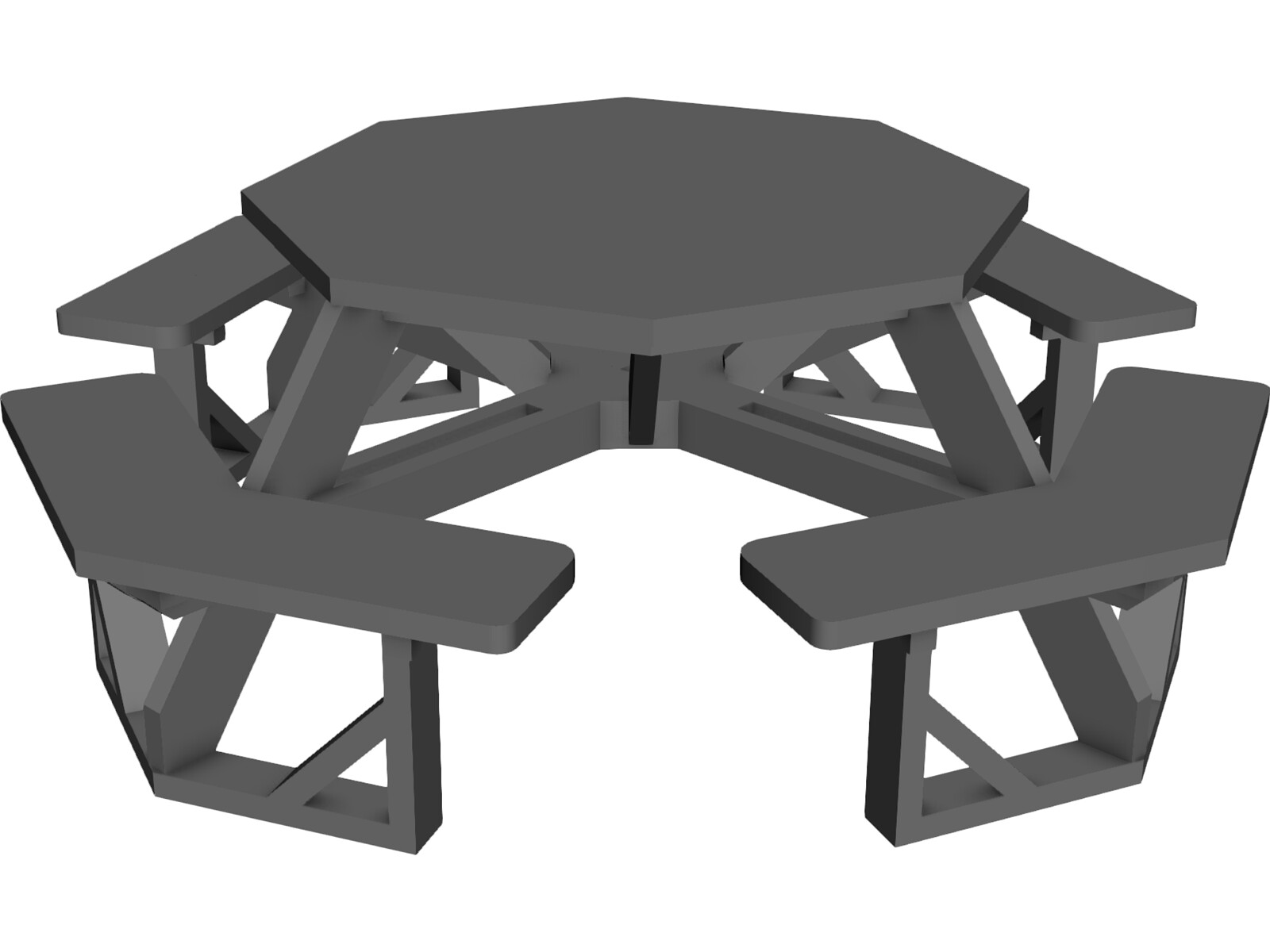 octogonal garden table 3d model