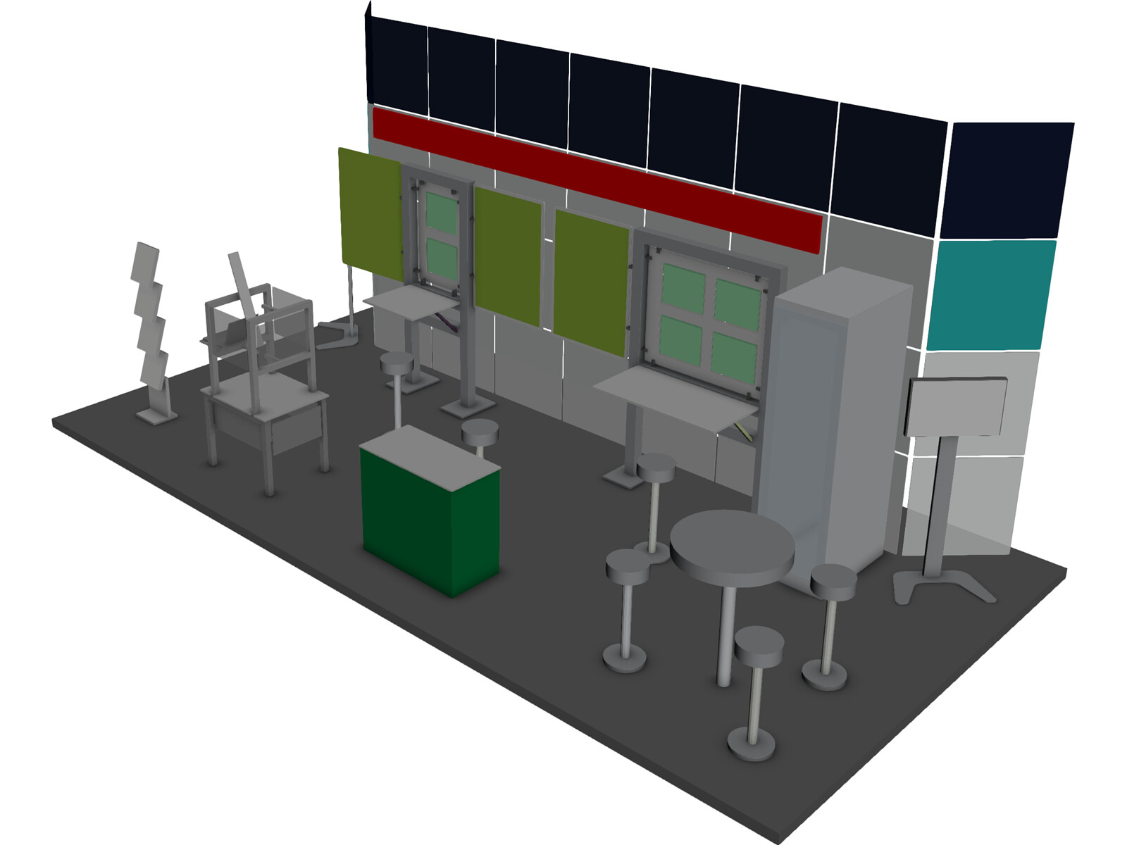 Exhibition Booth Obj : Trade show booth free 3d model 3d cad browser