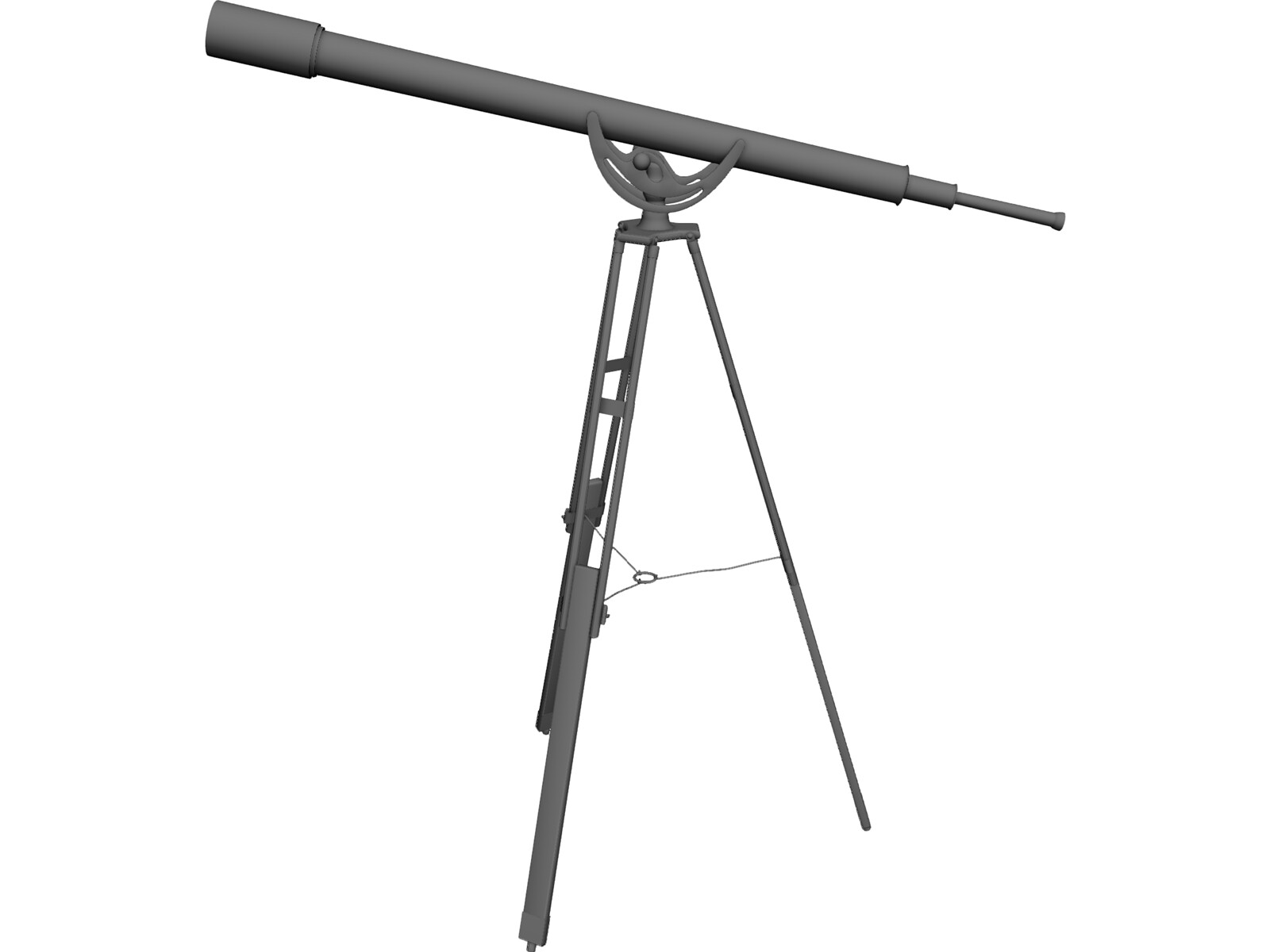 Brass Telescope on Stand 3D Model