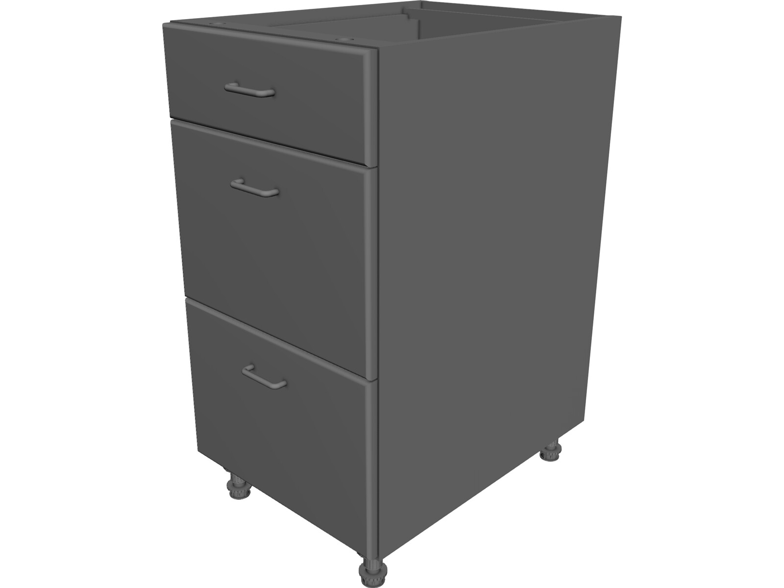 3 Drawer Cabinet 3D CAD Model