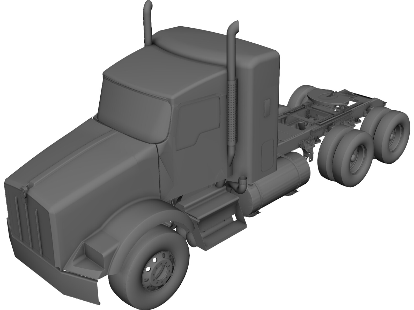 Kenworth T800 Tandem Truck 3d Cad Model 3d Cad Browser