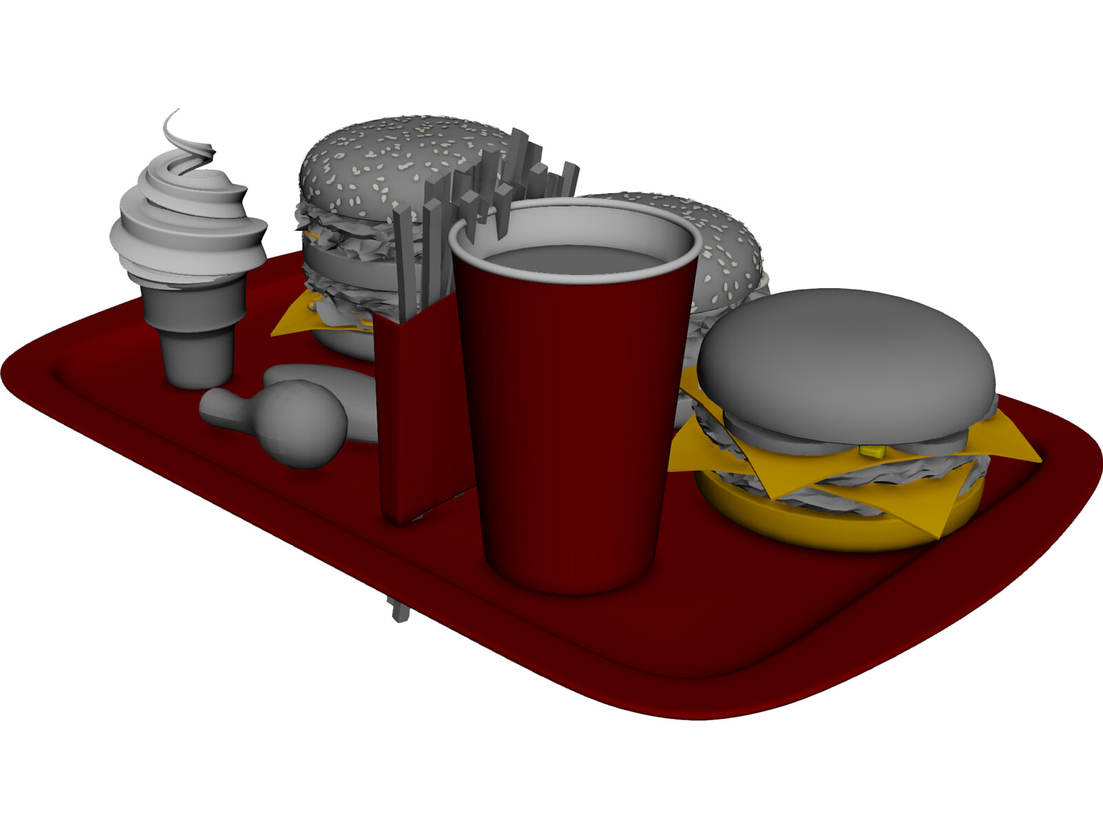 Mcdonalds food 3d model 3d cad browser for Food bar 3d model