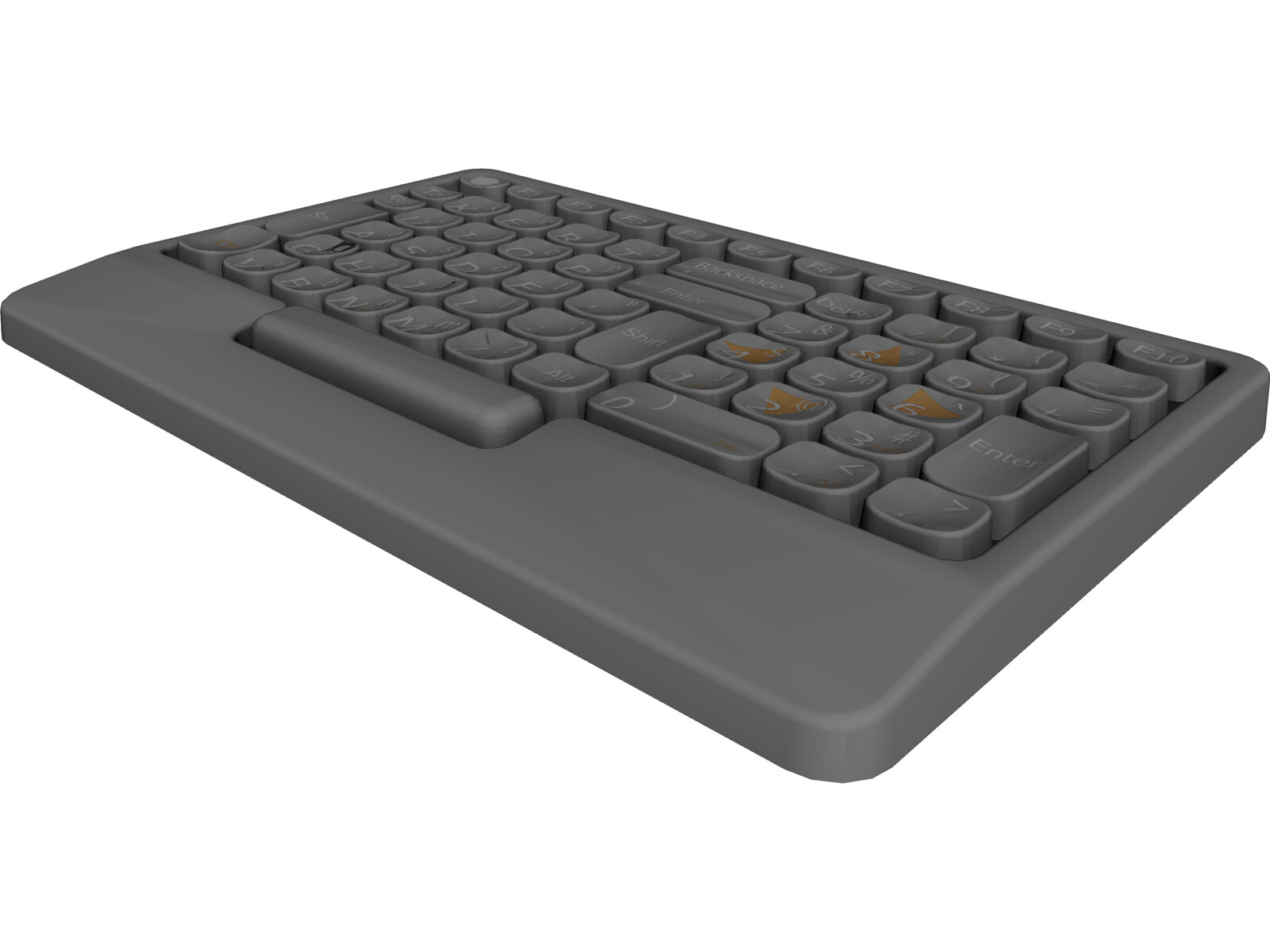 Abbreviated Left Hand Keyboard 3D CAD Model