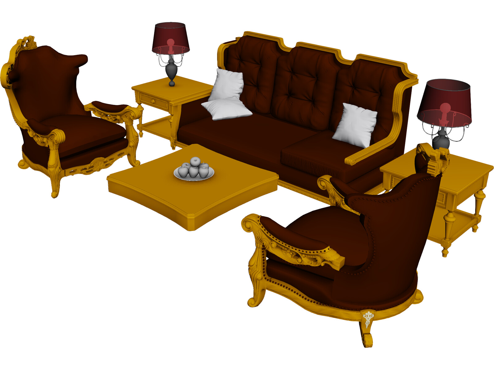 Classic Furniture Set 3D Model CAD Browser
