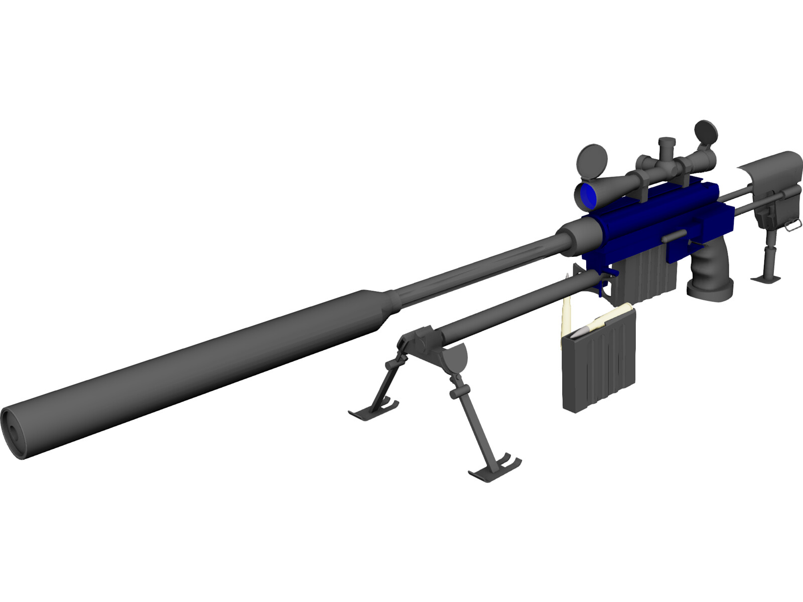 50 Cal Rifle with Suppressor