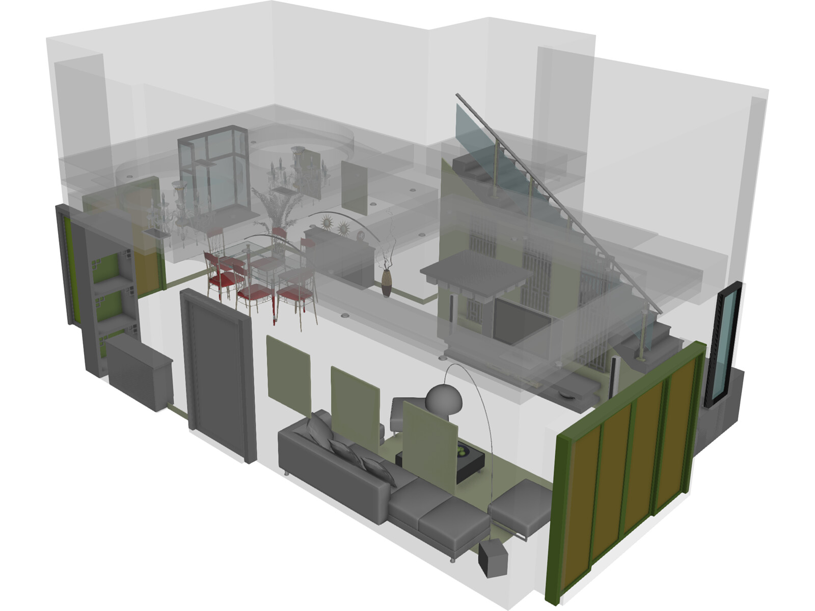 Living Room 3d Model 3d Cad Browser