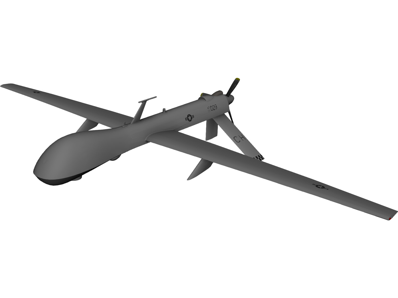 General Atomics MQ-1 Predator UAV Drone 3D Model