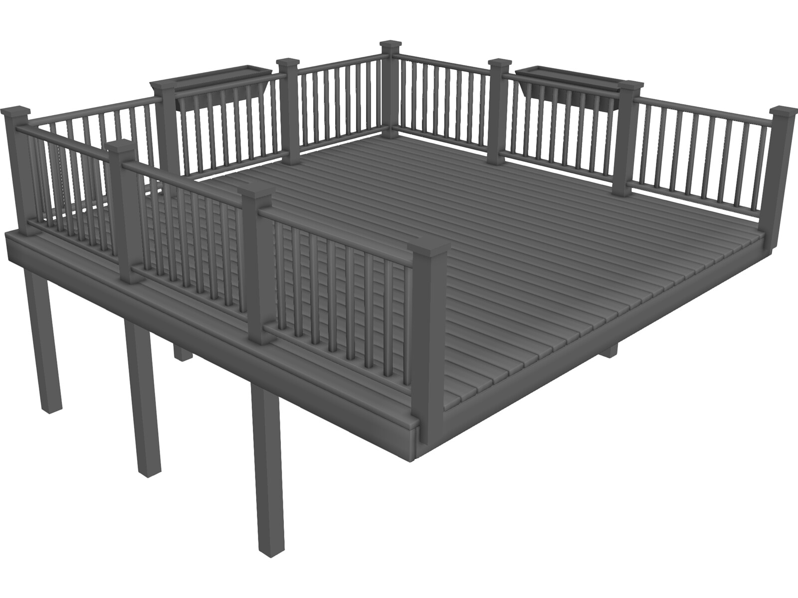 Wooden Deck 3d Model 3d Cad Browser