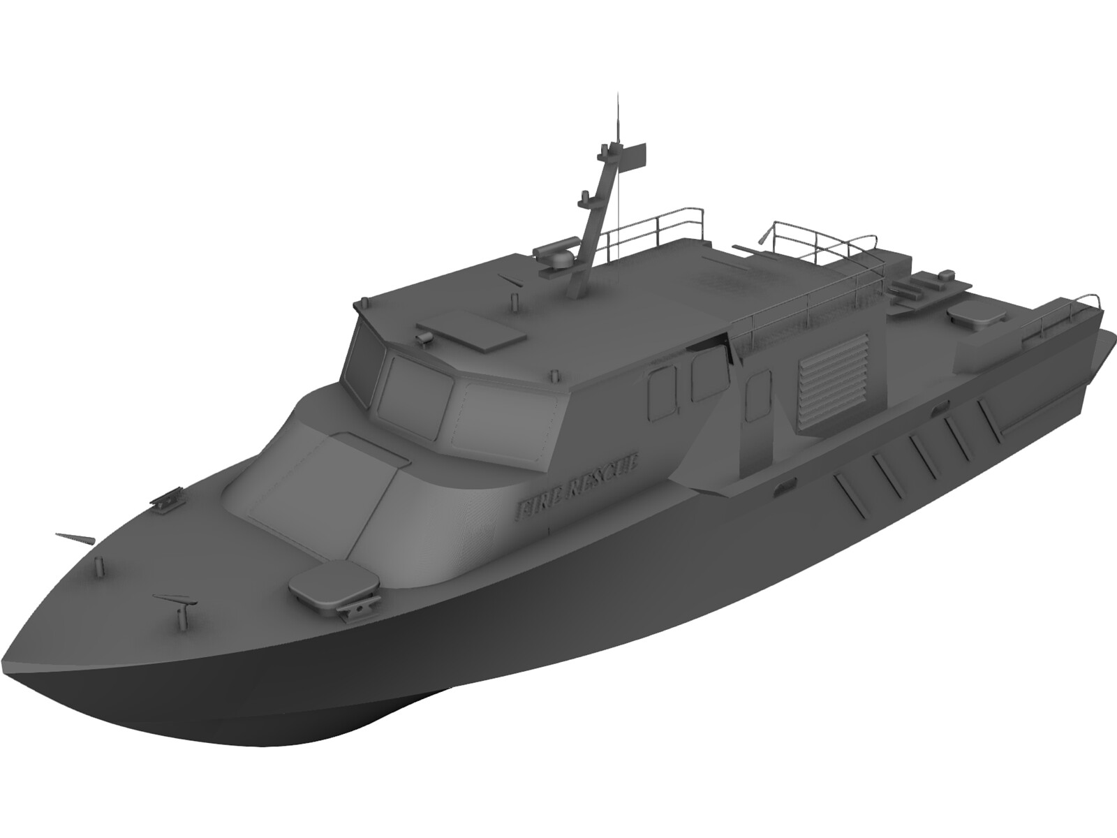 Fire Rescue Crew Boat 3D Model
