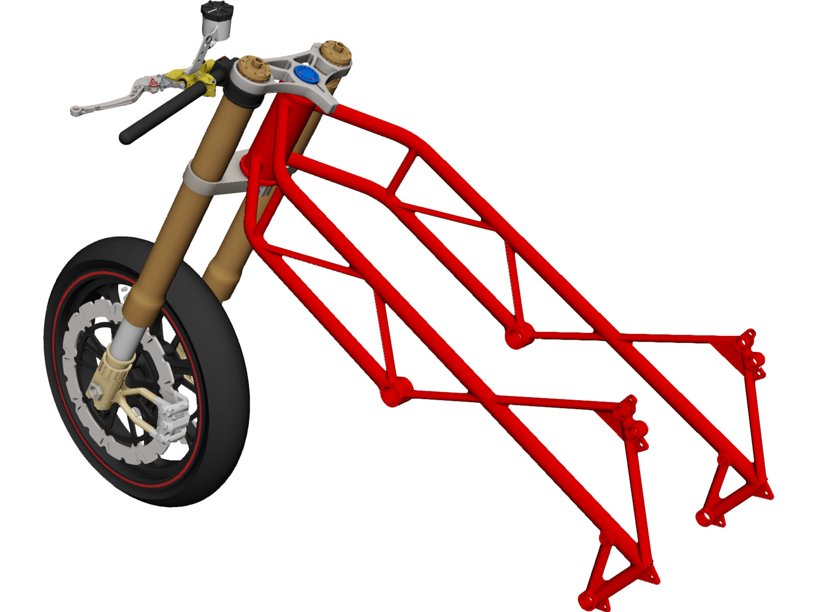 Motorcycle Frame, Wheel and Fork 3D CAD Model
