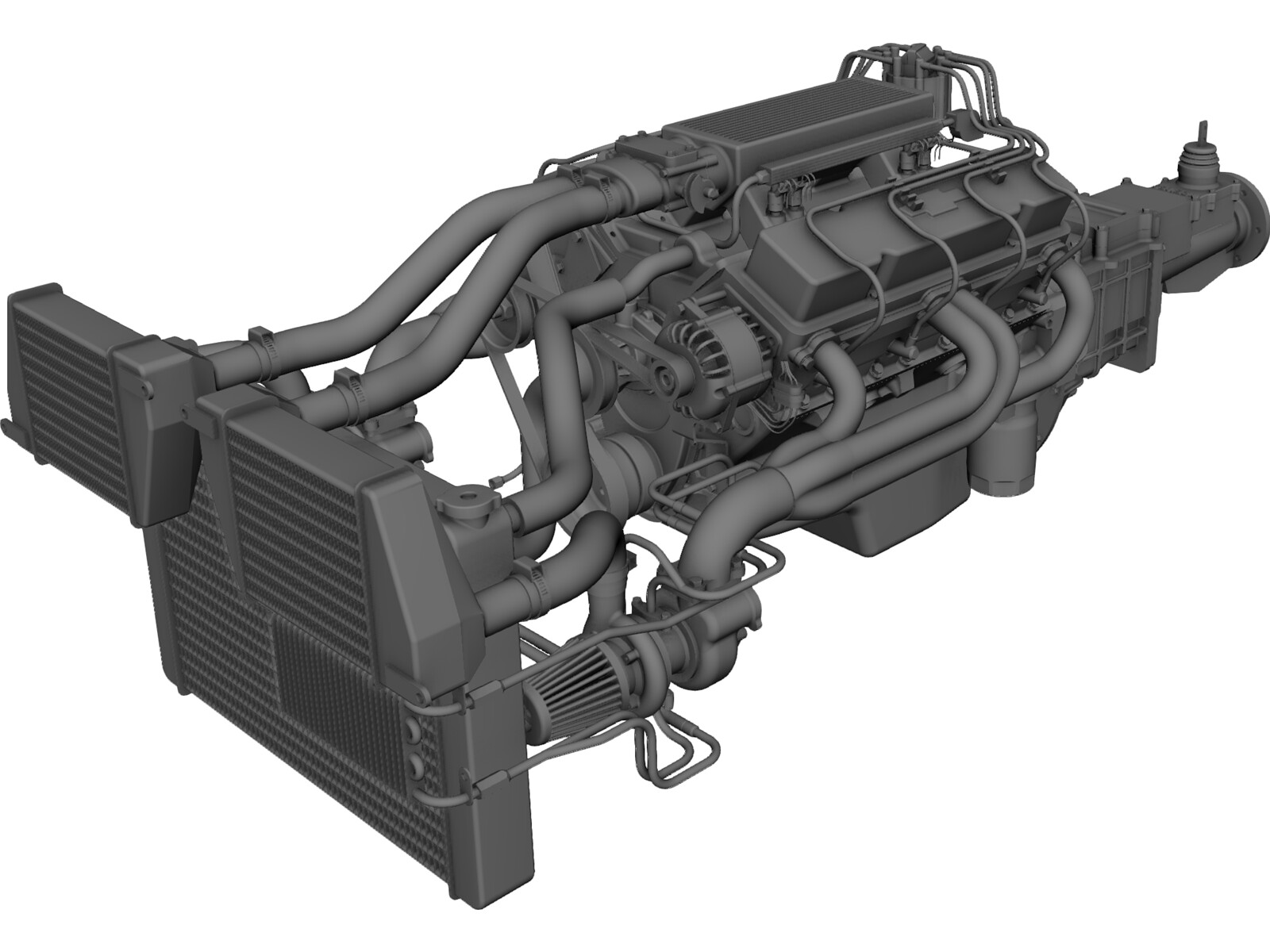 Engine GM 350 V8 Turbo 3D Model