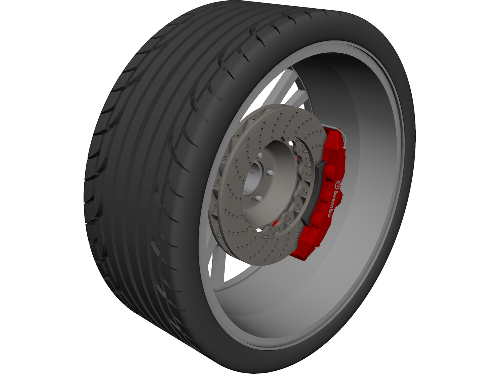 Wheel/Tire with Caliper and Rotor 3D CAD Model
