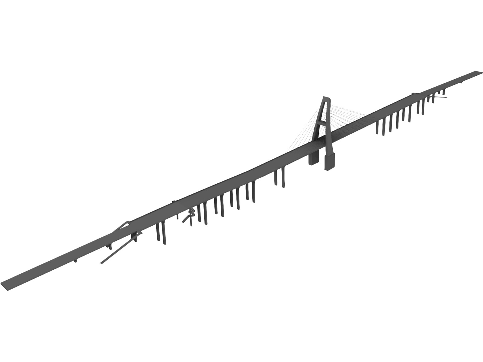 Cable Stayed Bridge 3D Model