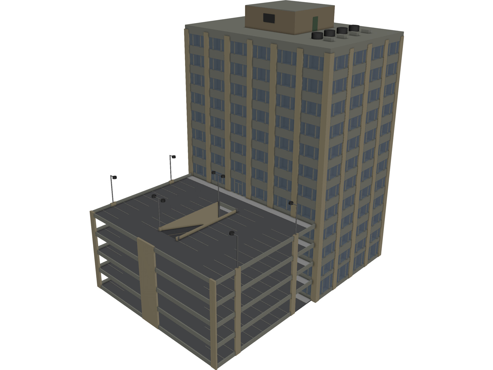 Building Mid Rise And Parking 3d Model