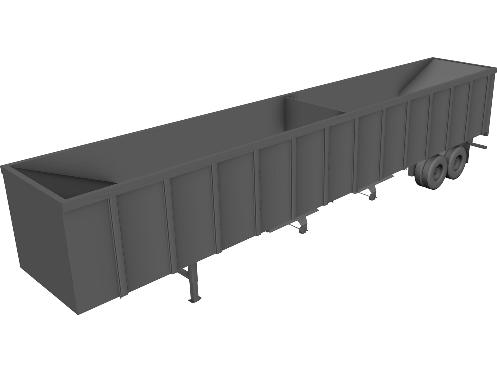 Hopper Bottom Trailer 3D Model