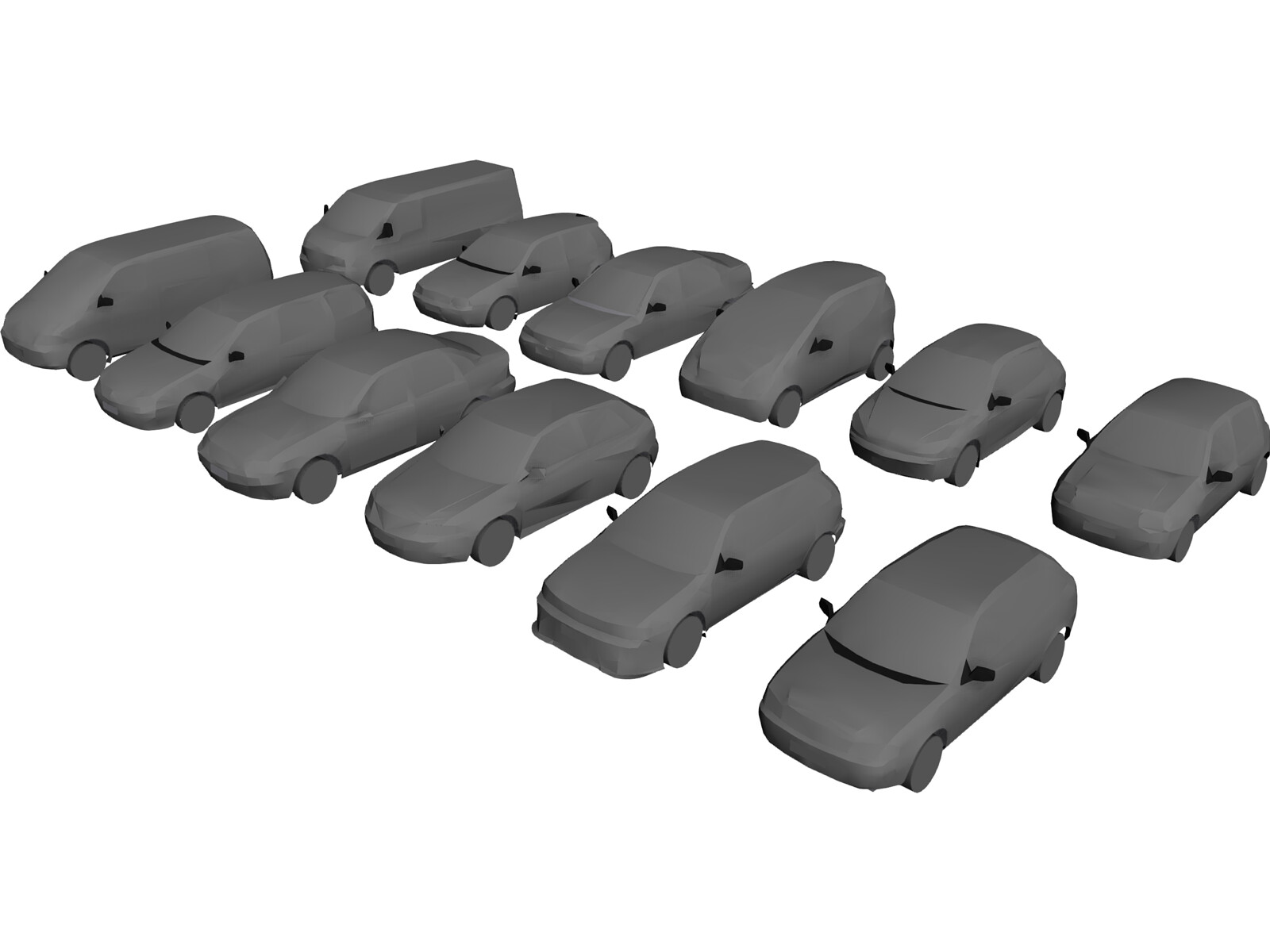 Cars Pack Low Poly 3D Model