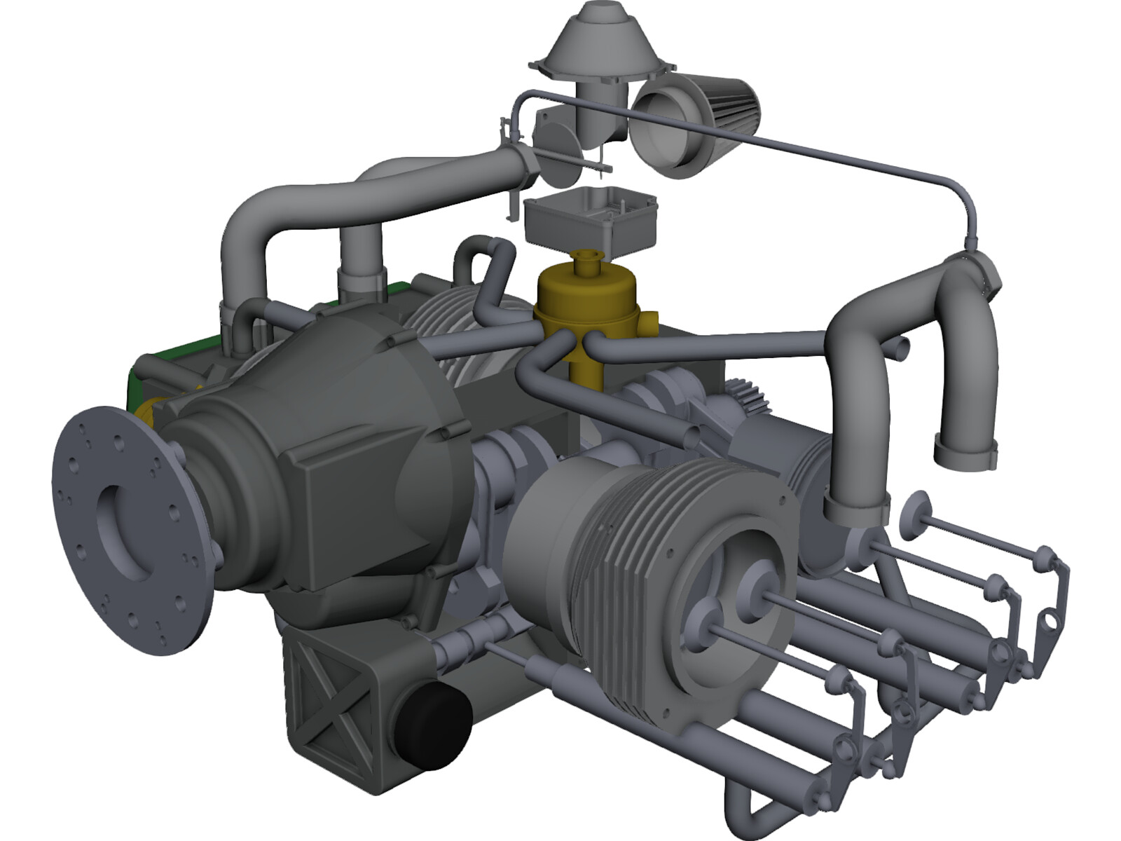 Rotax 912 Aircraft Engine 3D CAD Model