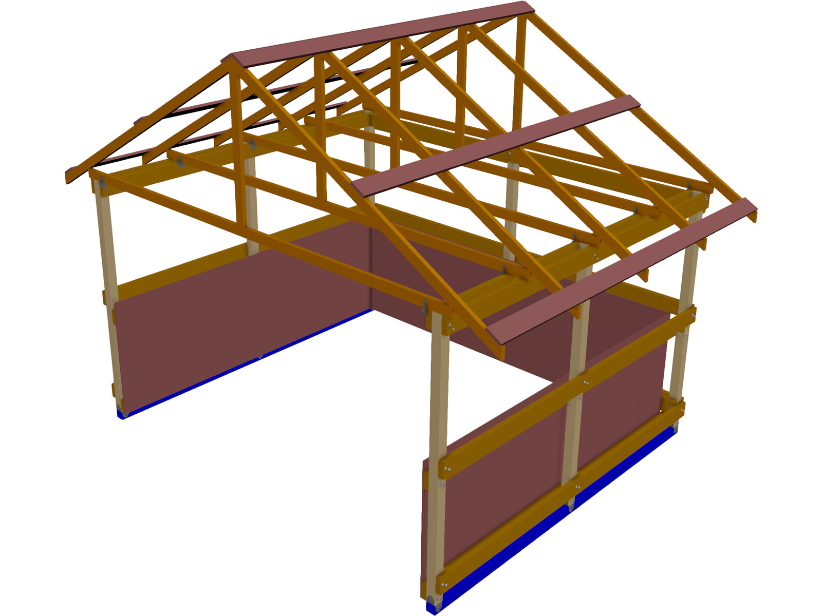 Shed Framing Run-in 3D CAD Model