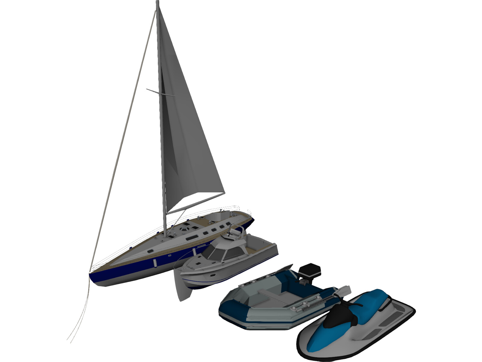 Boats Collection 3D Model
