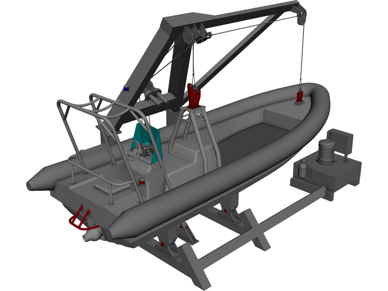 Davit and Inflatable Boat 3D CAD Model