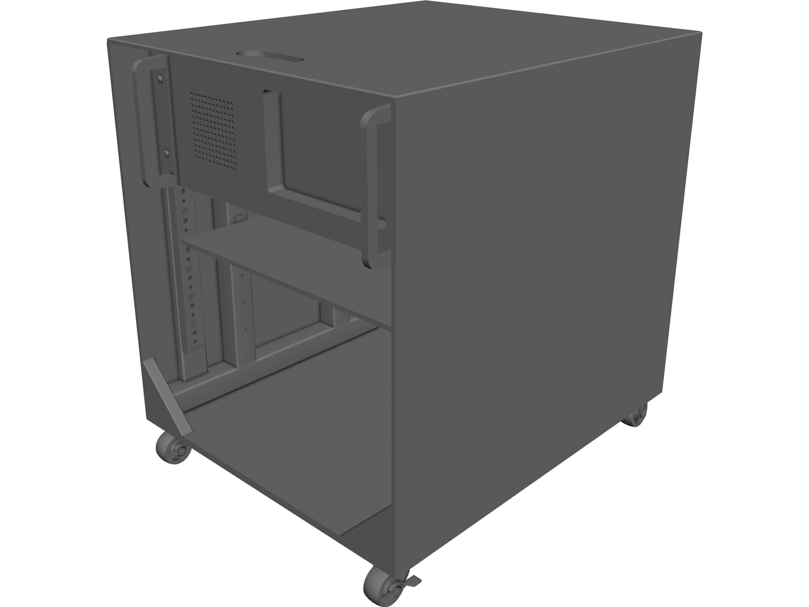 Audio/Server Rack with 4U Instrument 19-inch 3D Model