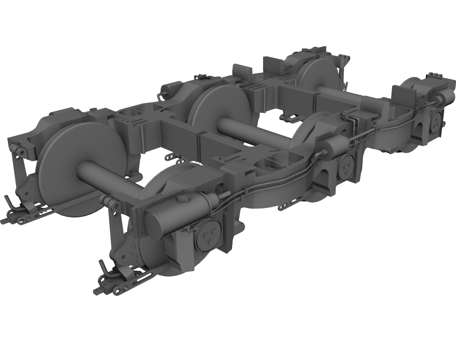 Locomotive Bogie 3 Axle 3D CAD Model
