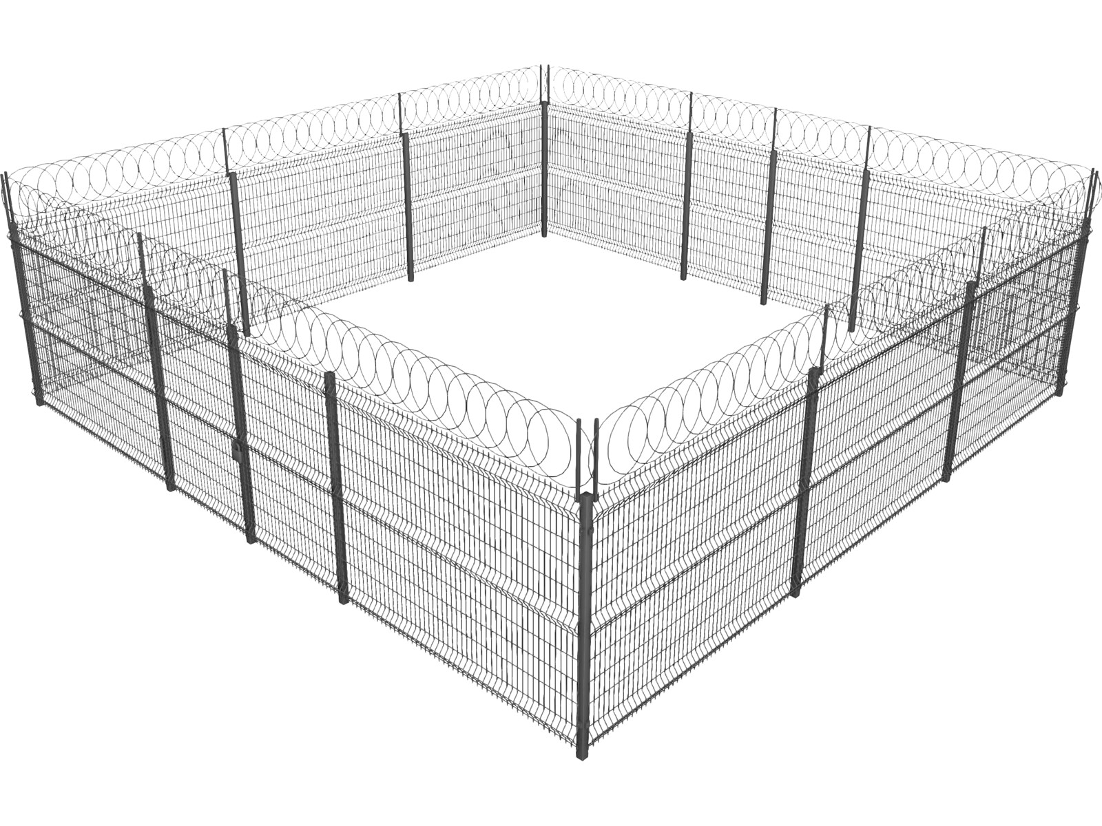 Metallic fence 3d model 3d cad browser for 3d fence